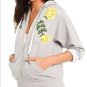 WILDFOX   Gray Friendship Roses Zip-Up Hoodie XL